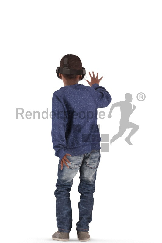 3d people casual, black 3d kid standing playing with VR headset