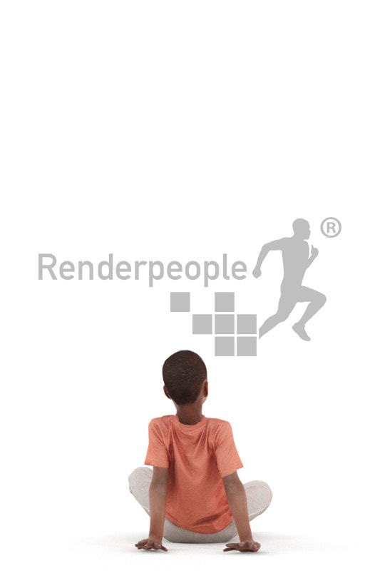 3d people casual, black 3d kid sitting on the floor