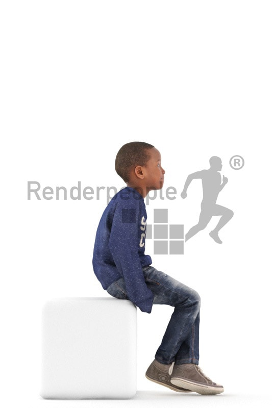 3d people casual, black 3d kid sitting