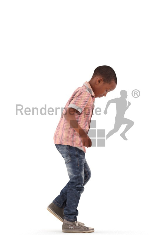 3d people casual, black 3d kid jumping and playing hopscotch