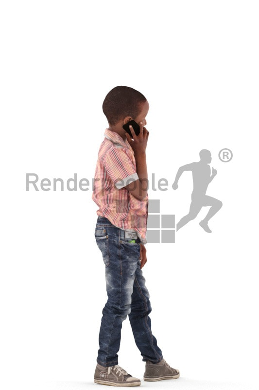 3d people casual, black 3d kid calling someone