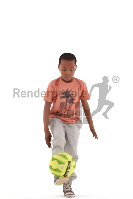 3d people casual, black 3d kid playing soccer