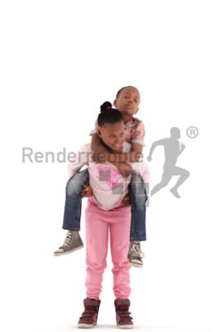 3d people casual, black 3d kids carrying each other