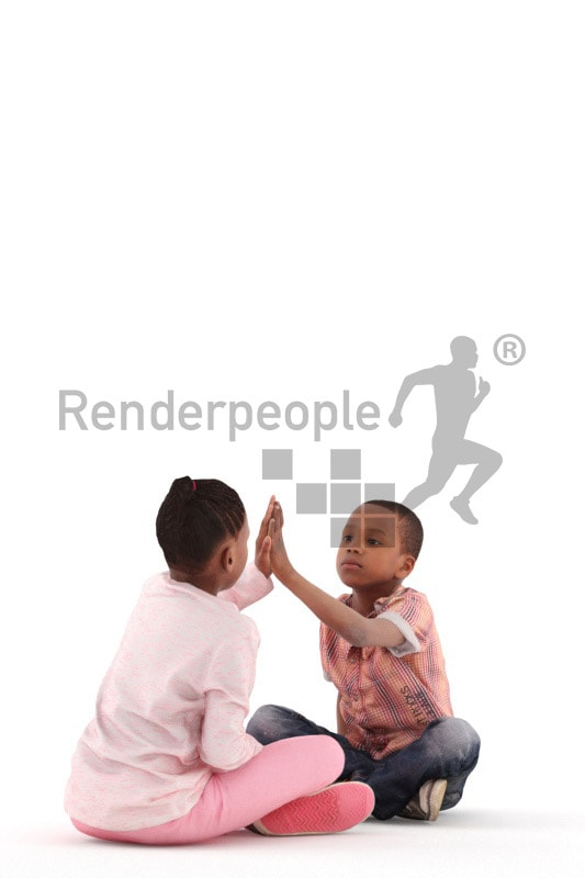 3d people casual, black 3d kids playing together