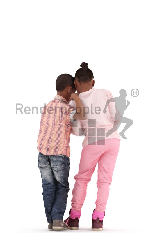 3d people casual, black 3d kids reading together