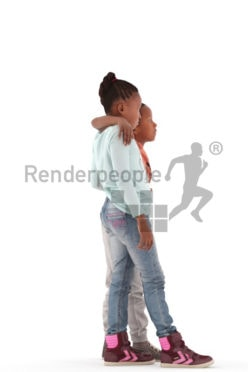 3d people casual, black 3d kids standing together