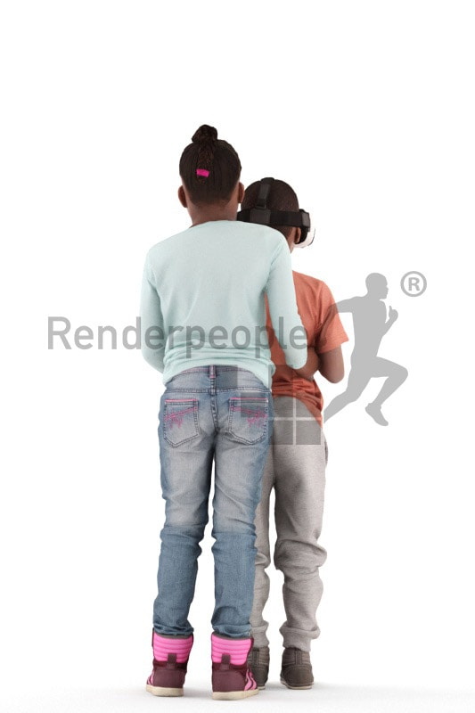 3d people casual, black 3d kids standing together playing vr