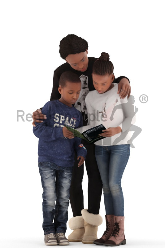 3d people. casual, family standing together reading