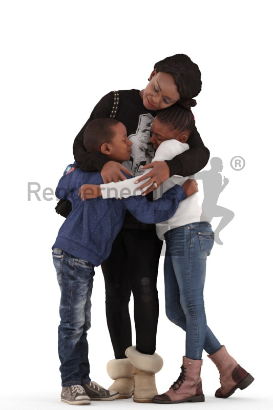 3d people. casual, family standing together huging