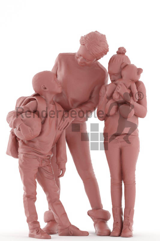 3d people. casual, family standing together