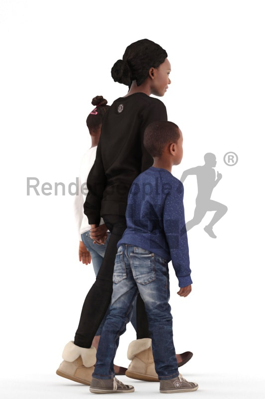 3d people. casual, family walking together