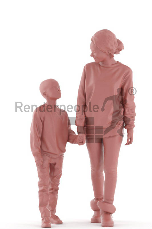 3d people casual, black 3d kid and woman walking together