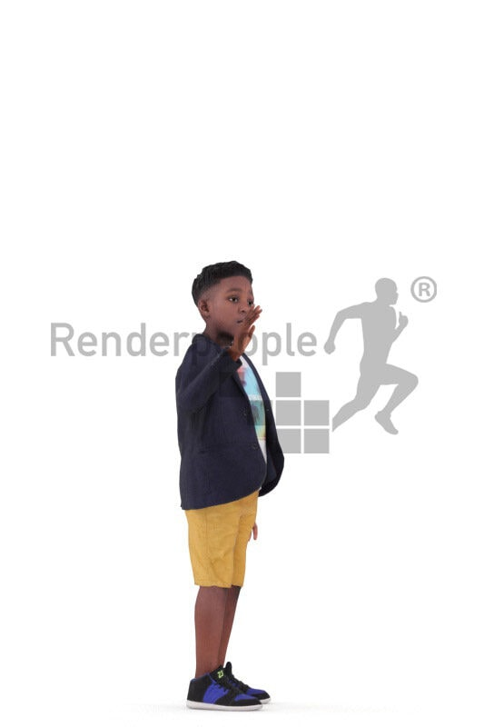 Animated 3D People model for realtime, VR and AR – black boy in casual outfit, standing and waving