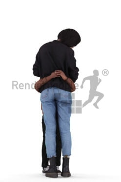 3d people casual, 3d black couple mother and child,cuddling