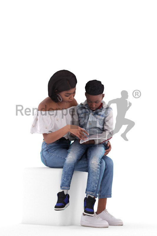 3d people casual, 3d black mother and boy sitting and reading