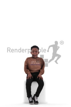 Posed 3D People model for visualization – black kid/boy in casual clothes, sitting and laughing