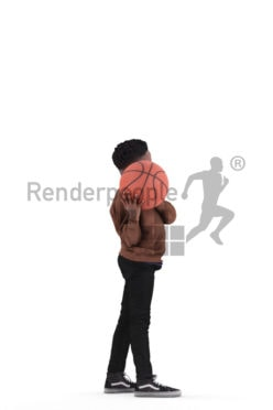 Scanned 3D People model for visualization – black kid playing basketball in casual clothes