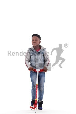 Photorealistic 3D People model by Renderpeople – black kid in daily outfit, using a scooter