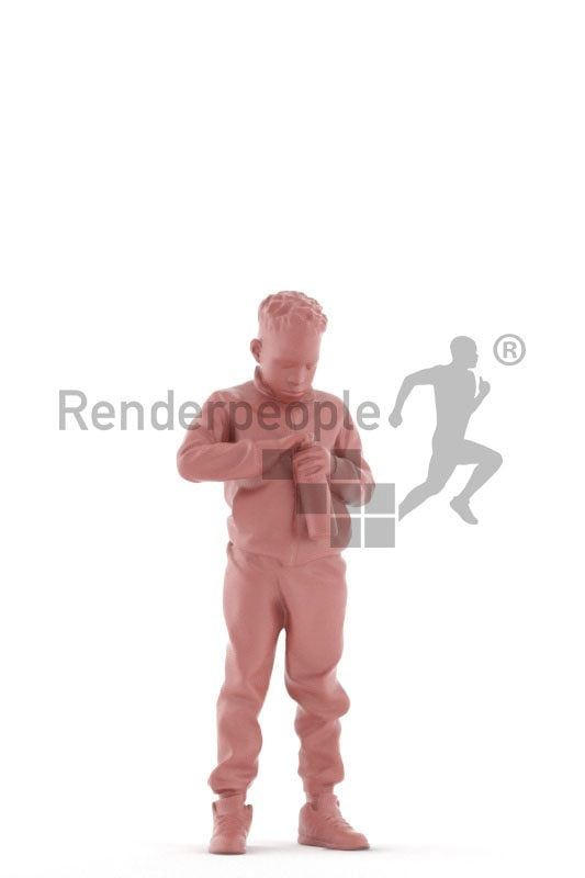 3d people sports, 3d black boy with a