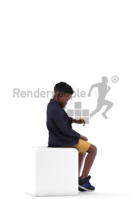 3d people casual, 3d black boy, sitting and writing