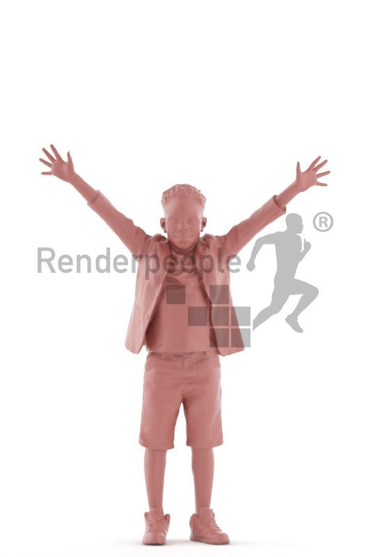 3d people casual, 3d black boy greeting