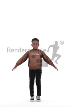 Rigged 3D People model for Maya and Cinema 4D – Black boy, casual style