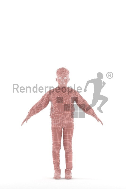 Rigged 3D People model for Maya and Cinema 4D – Black boy