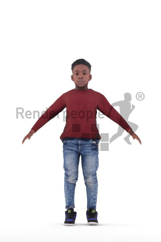 3d people casual, 3d black boy rigged