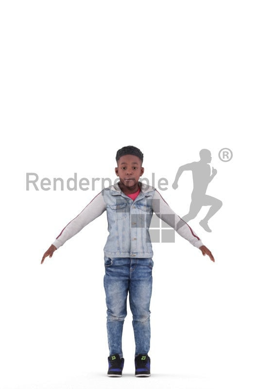 3d people casual, 3d black kid/boy rigged