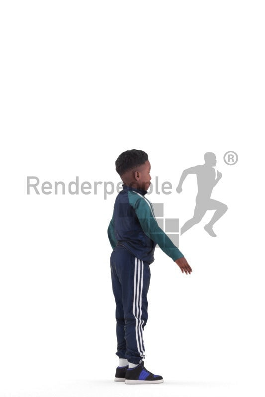 3d people sportsl, 3d black kid/boy rigged