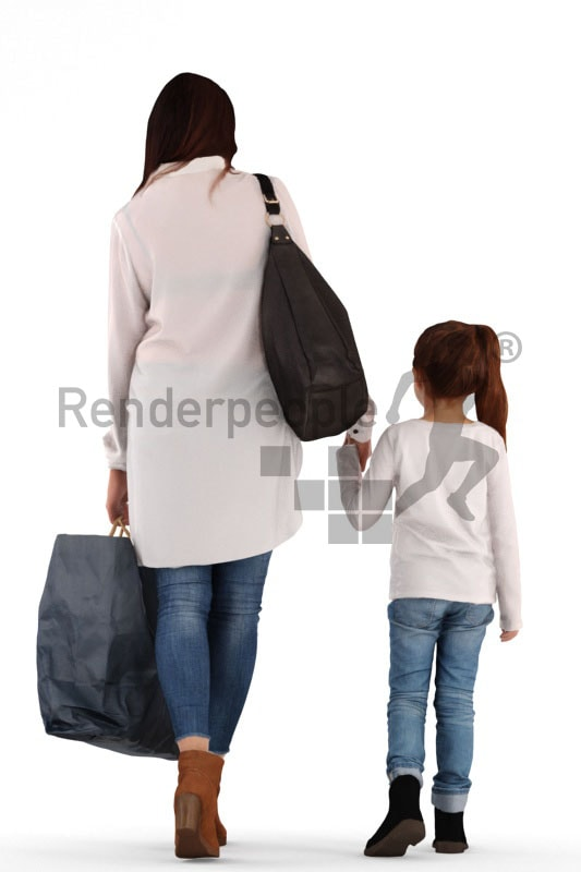 3d people groups, white 3d woman holding her daughters hand