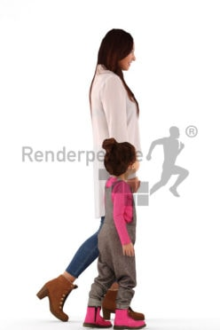 3d people groups, white 3d woman and child walking