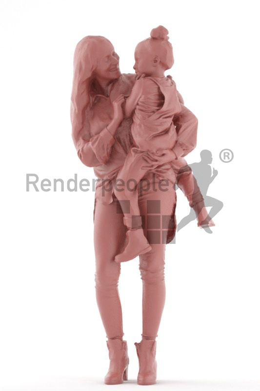 3d people groups, white 3d woman and holding her child