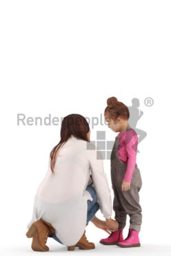 3d people groups, white 3d woman and helping her child