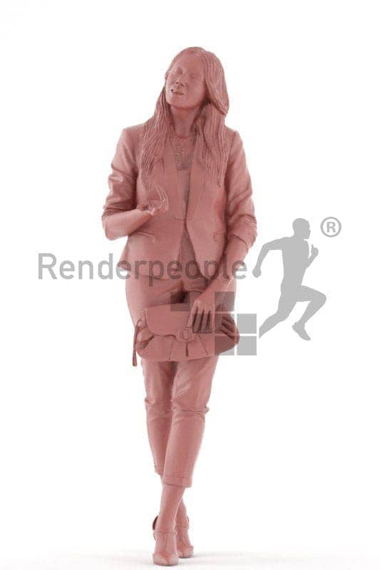3d people casual, 3d woman walking and holding her bag