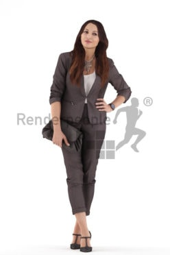 3d people casual, 3d woman standing and holding her bag