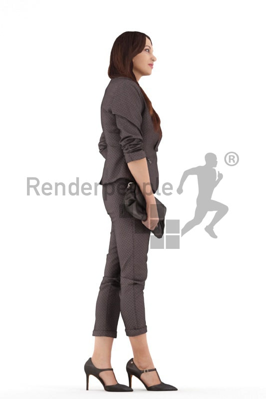3d people business, 3d woman standing and holding her bag