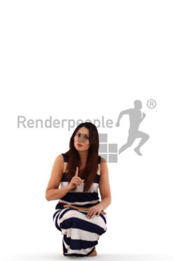 3d people casual, crouching 3d woman arguing