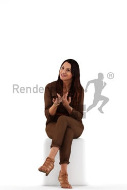 3d people event, sitting and talking 3D women
