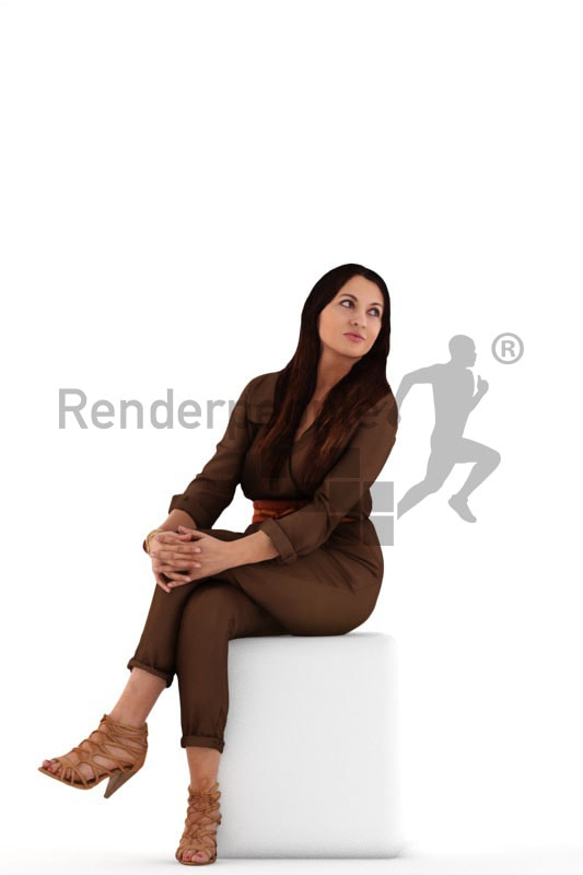 3d people event, sitting and looking 3D woman