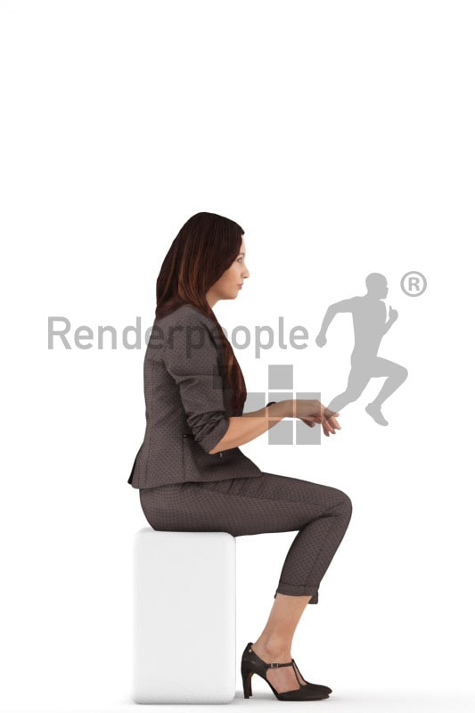 3d people business, 3d woman sitting typing