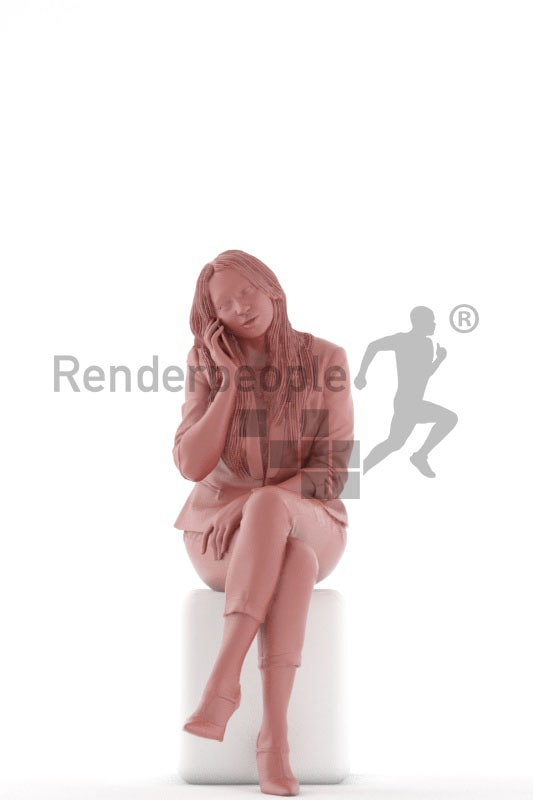 3d people business, 3d woman sitting and calling