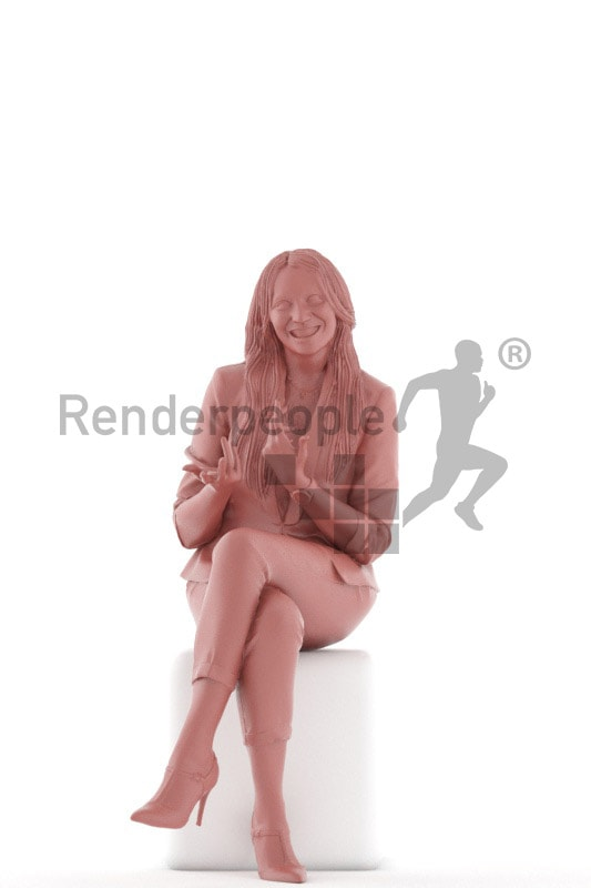 3d people business, 3d woman sitting and talking