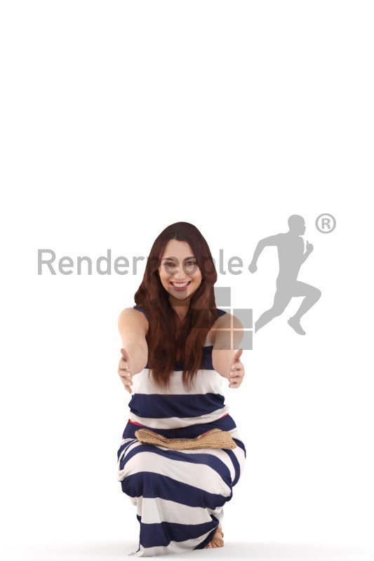 3d people casual, 3d woman kneeling holding her amrs out