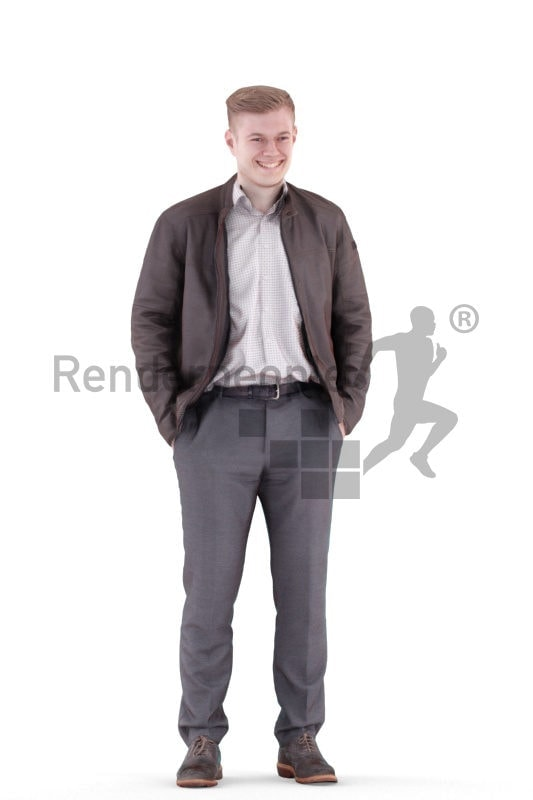 3d people casual, white 3d man standing and smiling