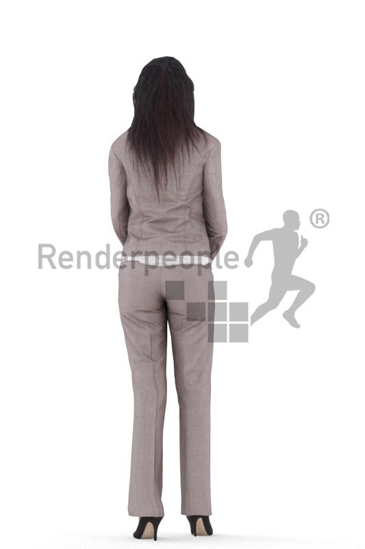 3D People model for animations – european woman in business look, standing