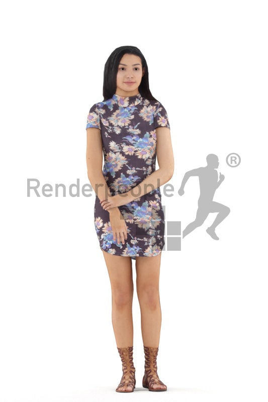 Animated 3D People model for 3ds Max and Maya – black woman, event dress, standing