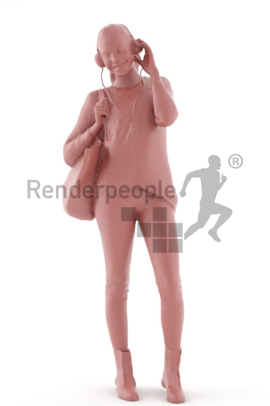 3d people casual, attractive 3d woman with headphones