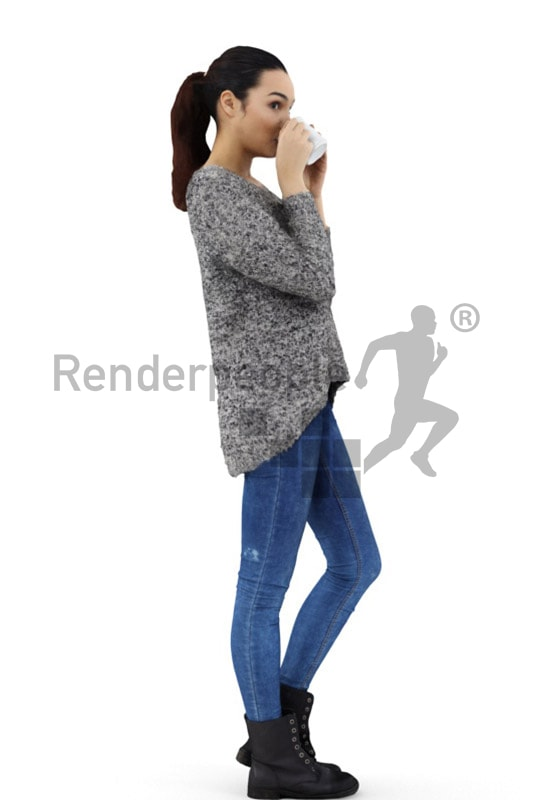 3d people casual, attractive 3d woman drinking a coffee