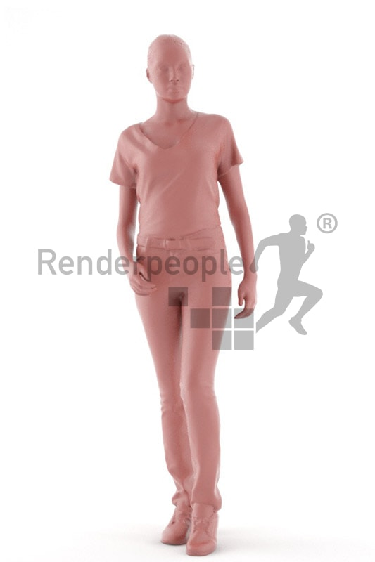 3d people service, attractive 3d woman standing